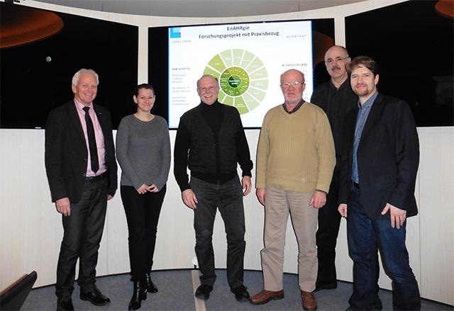 Auf dem Bild von rechts: Dr. A. Schaffrin, H.J. Marx, R. Hermann, R. Doemen, Mareike Schulz, J. Seifert