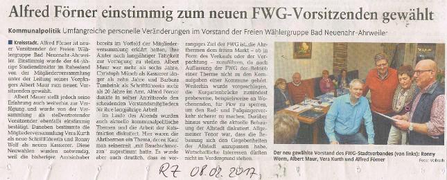 Alfred Förner einstimmig zum neuen FWG-Vorsitzenden gewählt