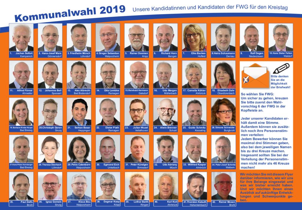 FWG Flyer Kandidaten Wahl 2019 Kreis Ahrweiler