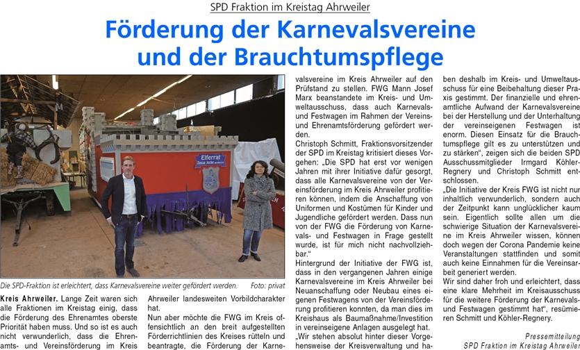 Förderung der Karnevalsvereine und der Brauchtumspflege – falsche Darstellung der Kreis SPD